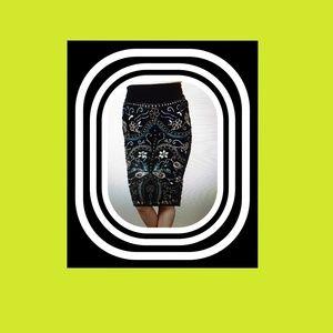 Venus velvet embroidered and embellished skirt